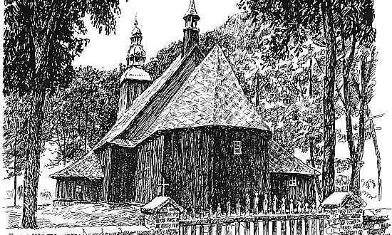 Kościół w Myślniewie. Grafika: W. Kościelniak